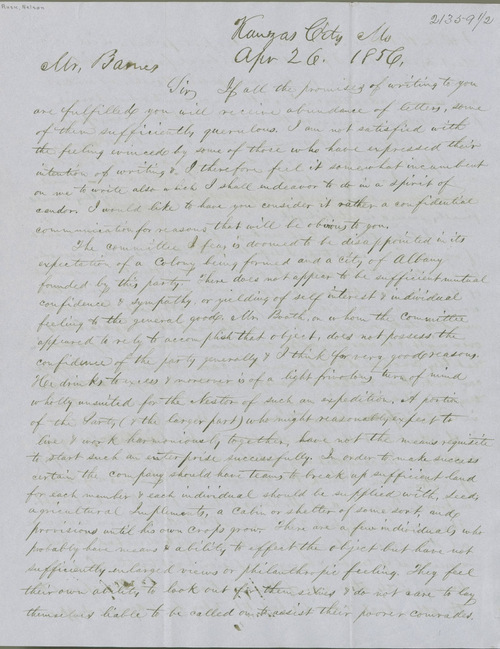 Nelson Rusk to William Barnes - Page