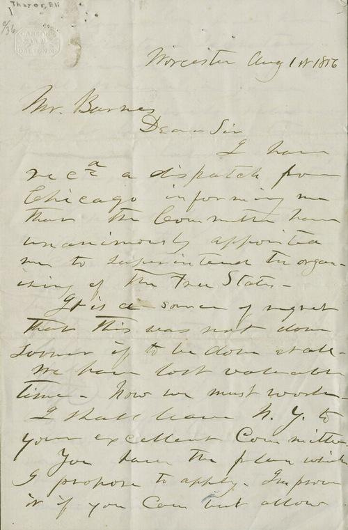 Eli Thayer to Mr. [William] Barnes - Page