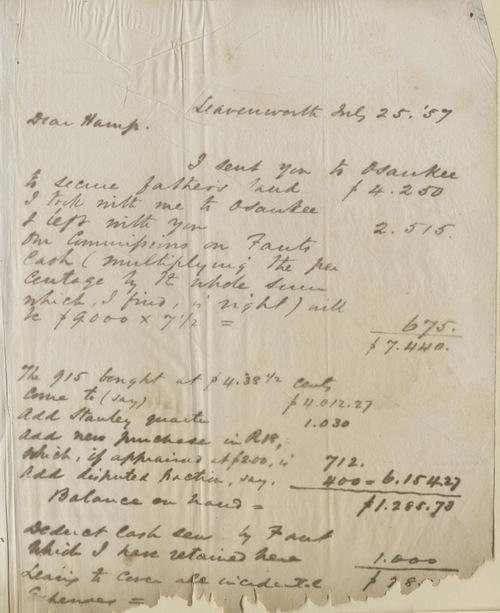 Thomas Ewing, Jr., to Dear Hamp B. Denman - Page