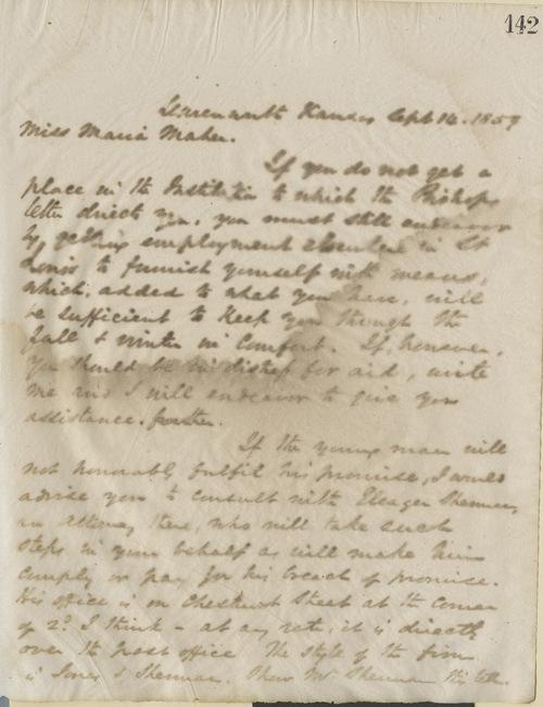 Thomas Ewing, Jr., to  Miss Maria Maher - Page