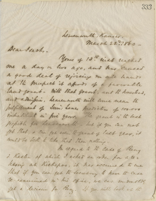 Thomas Ewing, Jr.,  to A.J. Isacks - Page