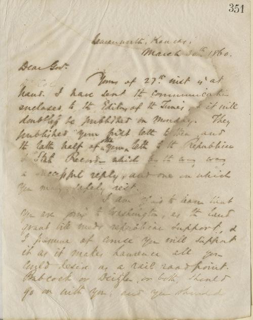 Thomas Ewing, Jr., to Govenorr Charles Robinson - Page