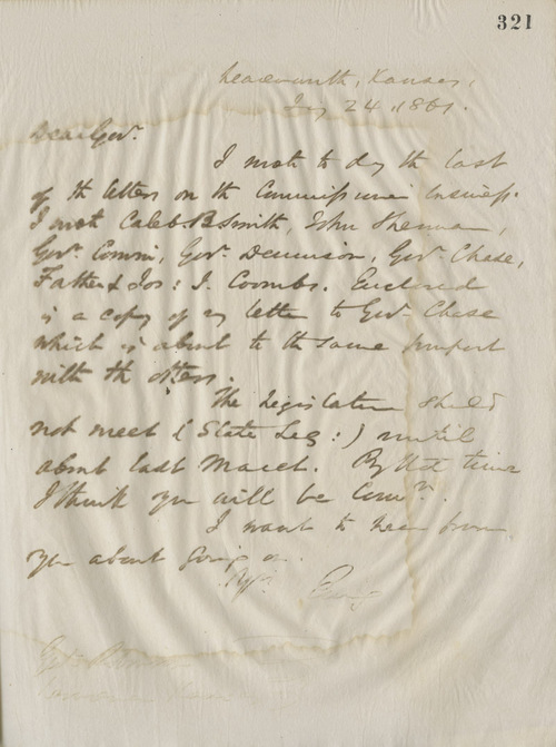 Thomas Ewing, Jr., to Governor Charles Robinson - Page