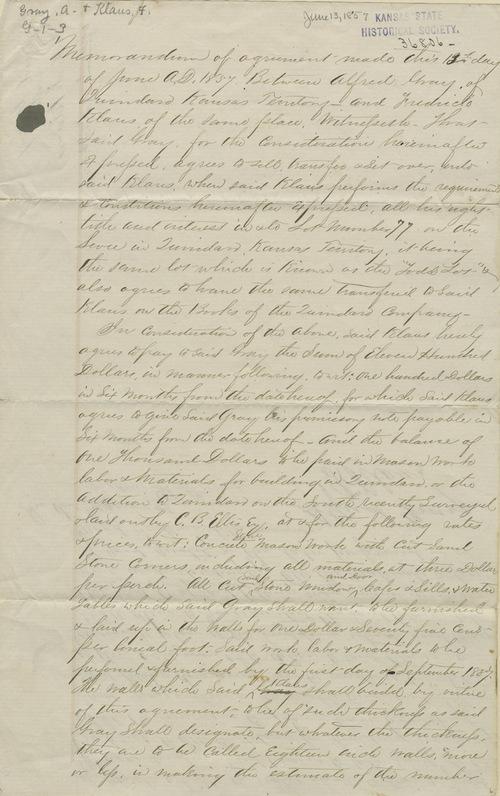Memorandum of agreement between Klaus and Gray - Page