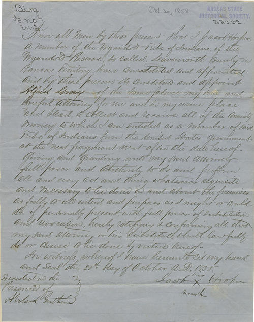 Document by Jacob Hooper authorizing Alfred Gray as his true and lawful attornery - Page