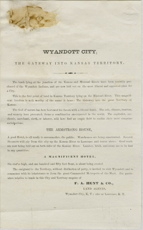Wyandott City, the gateway into Kansas Territory - Page