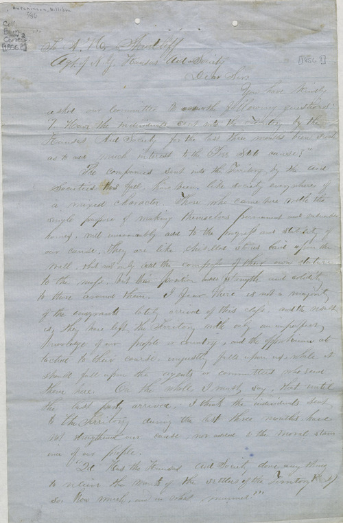 William Hutchinson to A. H. Shurtleff - Page