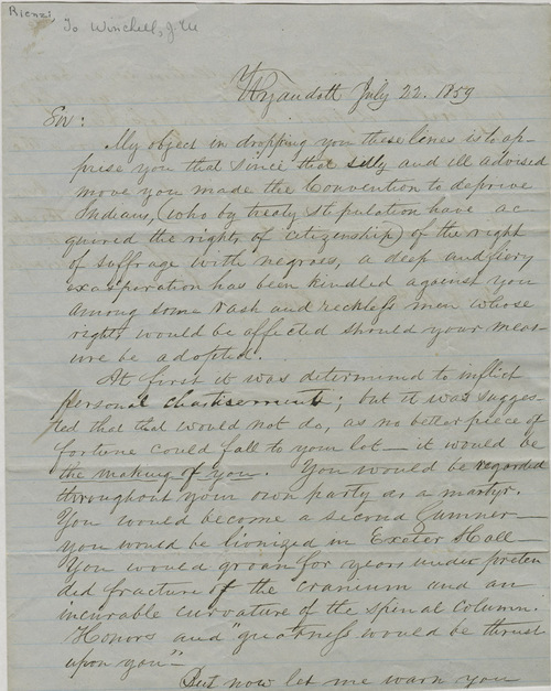 Reinzi to James M. Winchell - Page