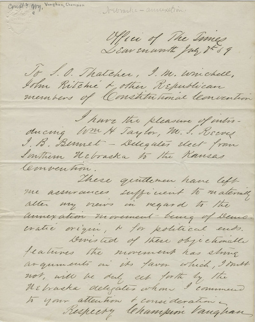 Champion Vaughan to S.O.Thacher and others - Page