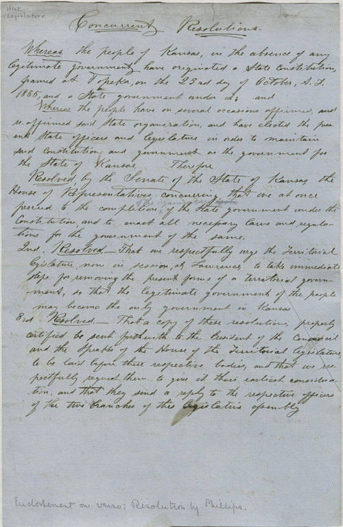 Concurrent Resolutions, Topeka Legislature, House and Senate [1858] - Page