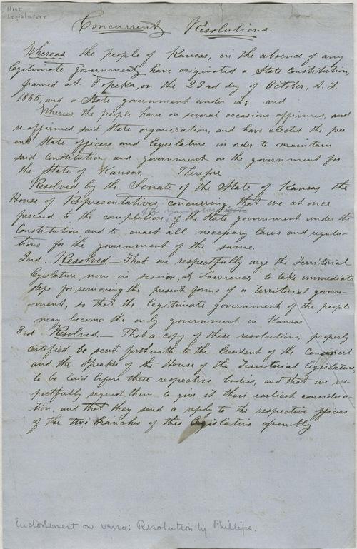 Concurrent Resolutions, Topeka Legislature, House and Senate [1858] - Page