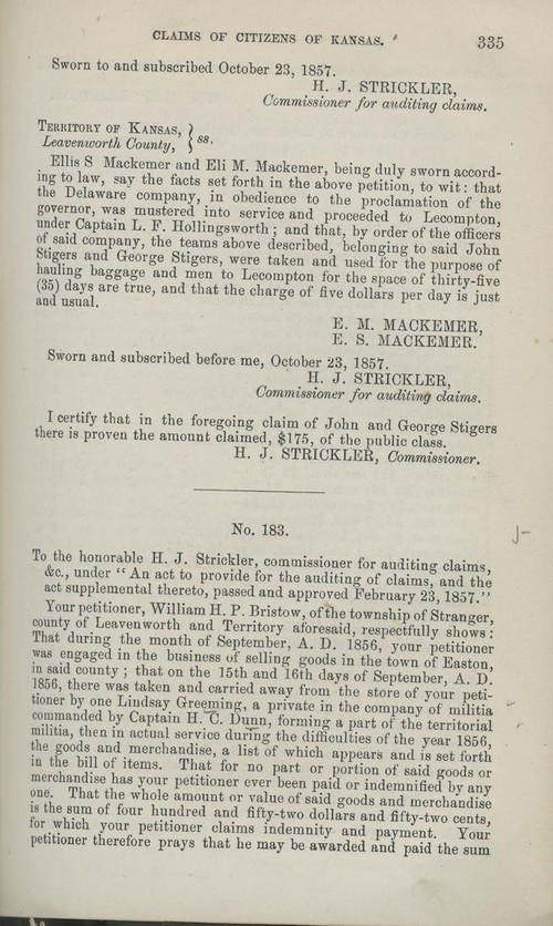 William H.P. Bristow territorial loss claim - Page
