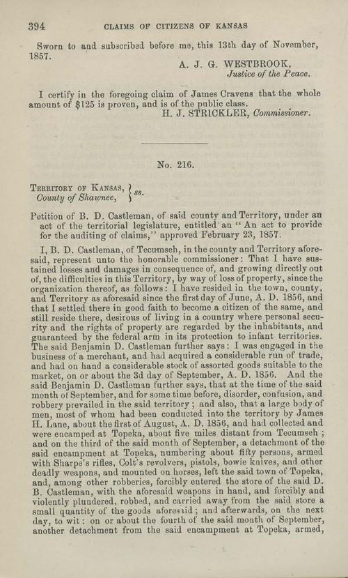 Benjamin D. Castleman territorial loss claim - Page