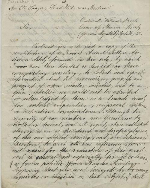 A. Oestreicher to Eli Thayer - Page