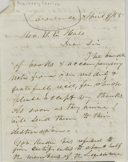 Charles Robinson to Reverend Edward Everett Hale - Page