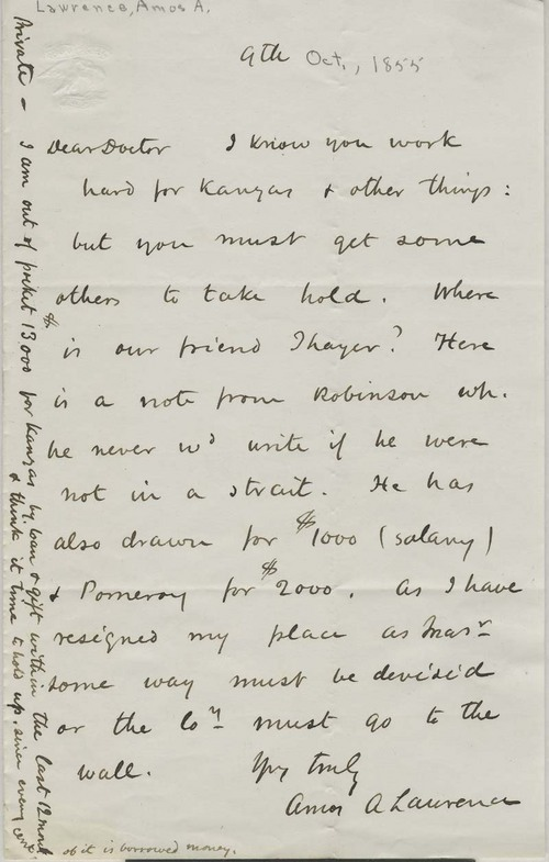 Amos A. Lawrence to Doctor Samuel Cabot - Page