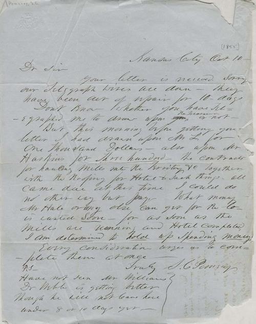 Samuel Clarke Pomeroy to unknown correspondent - Page