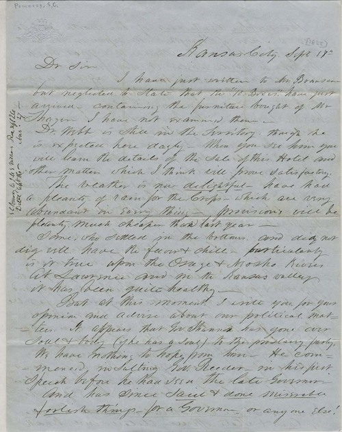 Samuel C. Pomeroy to J. M. S. Williams - Page