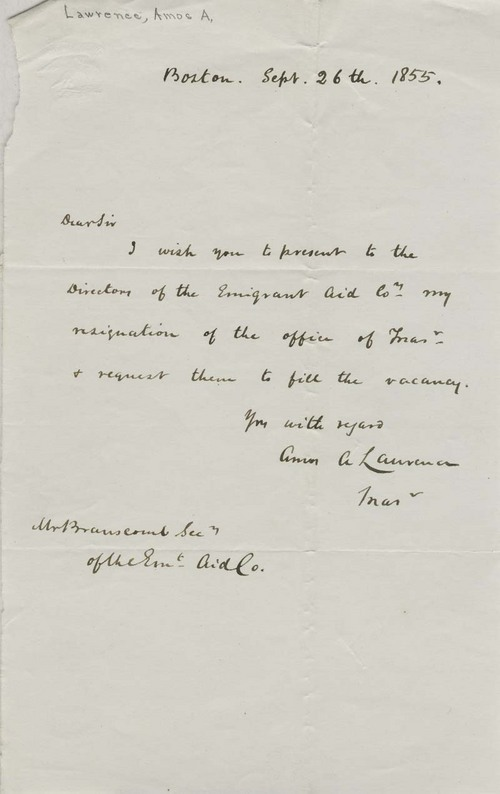 Amos A. Lawrence to Charles H. Branscomb - Page