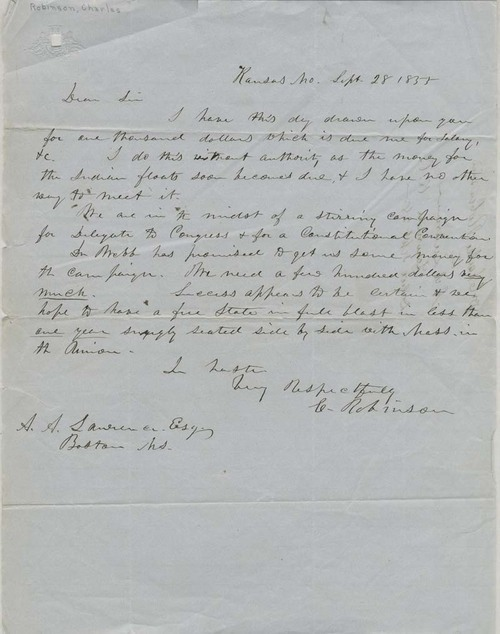 Charles  Robinson to Amos A. Lawrence - Page