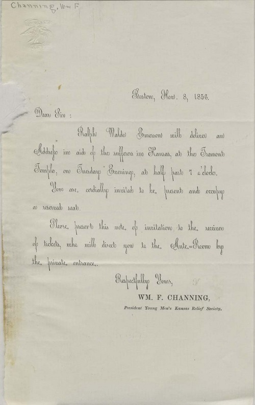 An invitation to an address written by Ralph Waldo Emerson - Page
