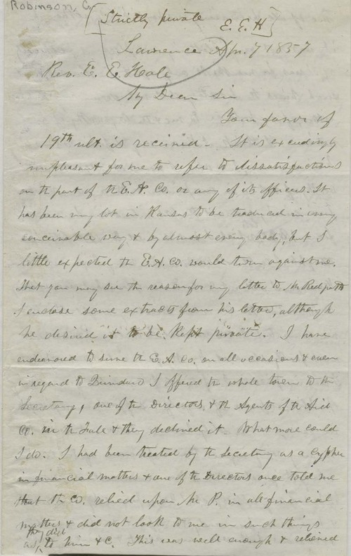Charles Robinson to Edward Everett Hale - Page
