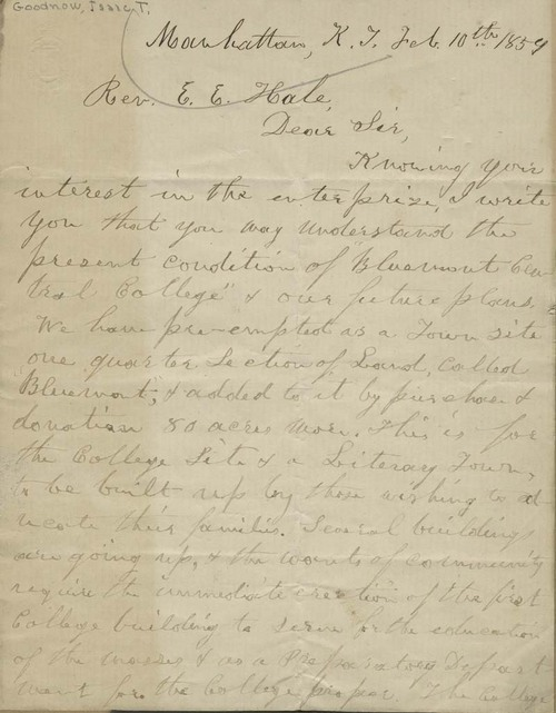 Isaac Tichenor Goodnow to Edward Everett Hale - Page