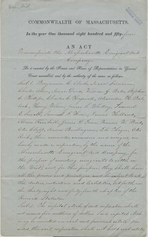 Massachusetts Emigrant Aid Company, Act to Incorporate - Page