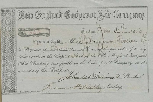 New England Emigrant Aid Company stock certificate - Page
