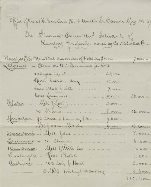 New England Emigrant Aid Company, Finance Committee's Schedule of Kanzas Property owned - Page