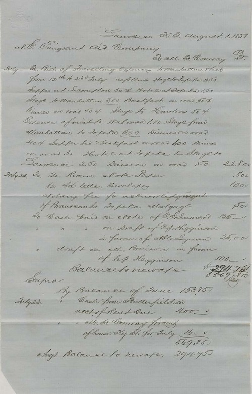 Martin Franklin Conway to New England Emigrant Aid Company, Financial Statements - Page
