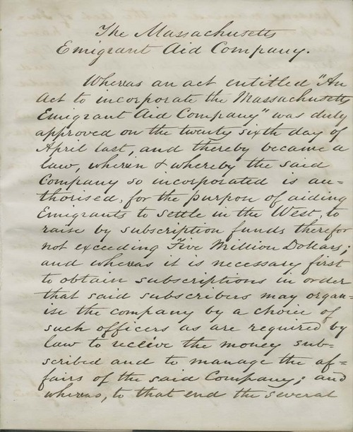 Massachusetts and New England Emigrant Aid Companies, list of subscriptions to stock - Page