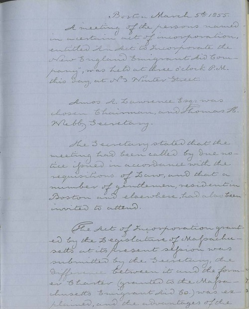 New England Emigrant Aid Company, Annual Meeting Minutes - Page