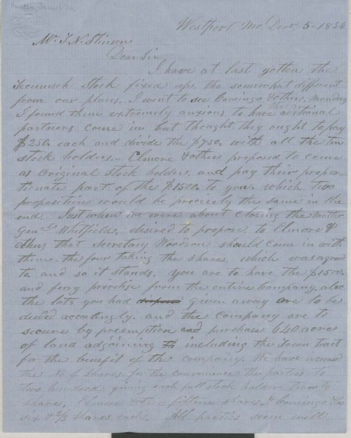 James M. Hunter to Thomas Nesbit Stinson - Page