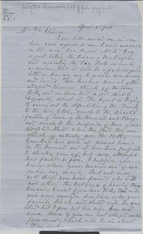 William Donaldson to Thomas Nesbit Stinson - Page