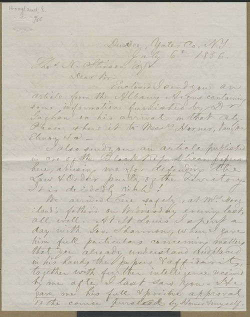 Edward Hoogland to Thomas Nesbit Stinson - Page