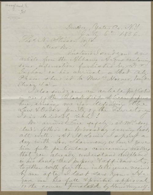 Edward Hoogland to Thomas Nesbit Stinson - Page