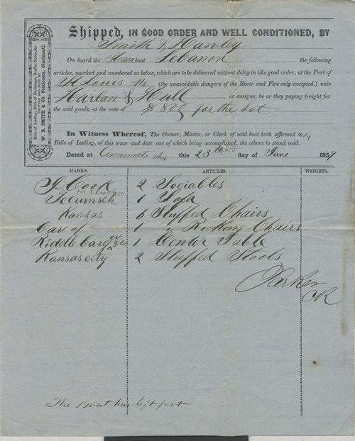 Steamboat Lebanon, bill of lading - Page