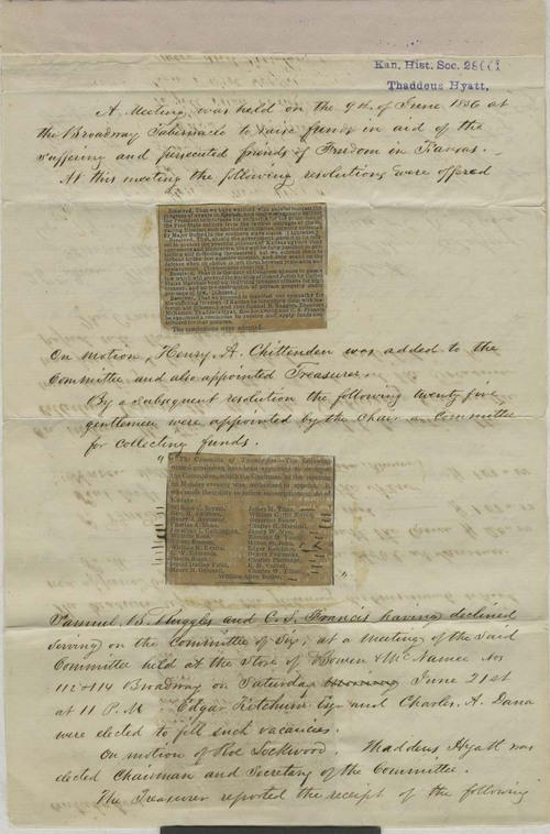 National Kansas Relief Committee, minutes - Page