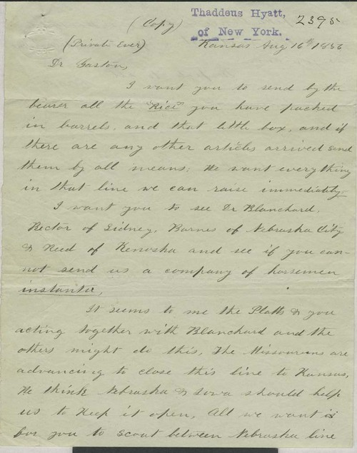 James Henry Lane to Dr. Gaston - Page