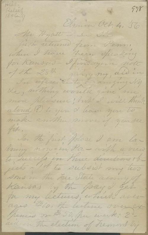 Clarina Irene Howard Nichols to Thaddeus Hyatt - Page