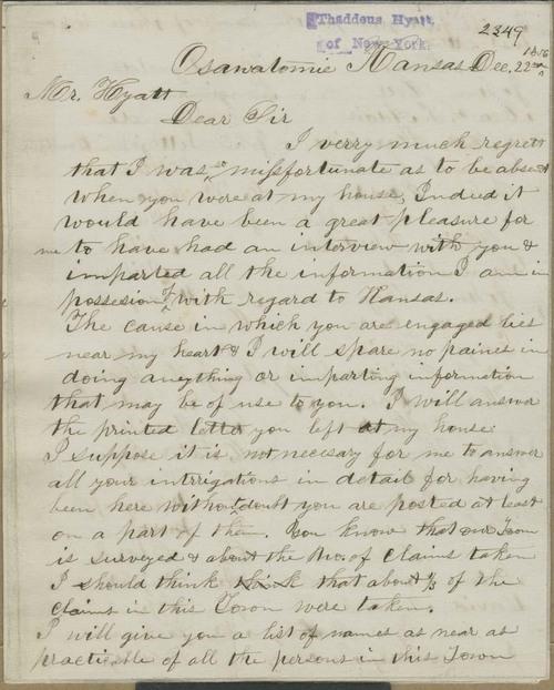 A. Finch to Thaddeus Hyatt