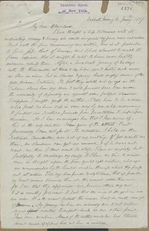Thaddeus Hyatt to Cleaveland - Page