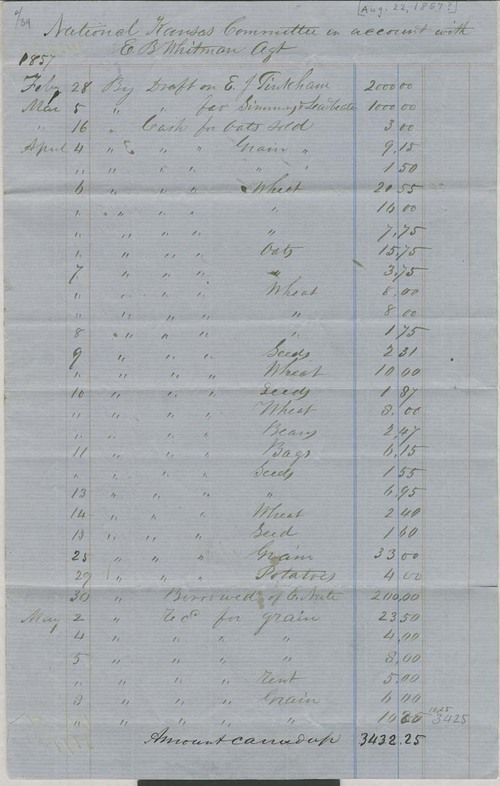 Edmund Burke Whitman to National Kansas Committee, expense sheet - Page