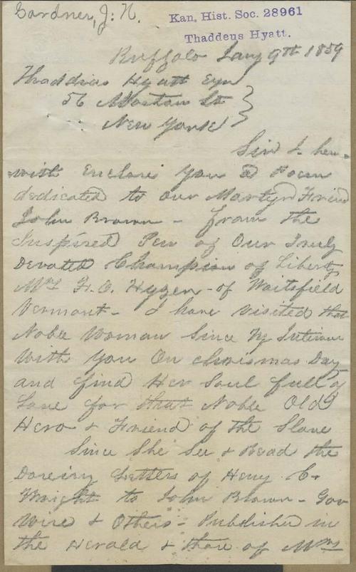 John N. Gardner to Thaddeus Hyatt - Page