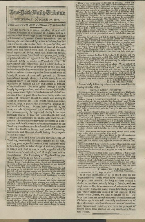 "New York Daily Tribune, ""The Drouth and Famine in Kansas"" - Page"