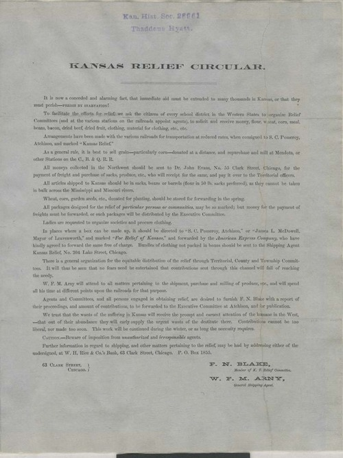 Kansas Relief Committee, circular - Page