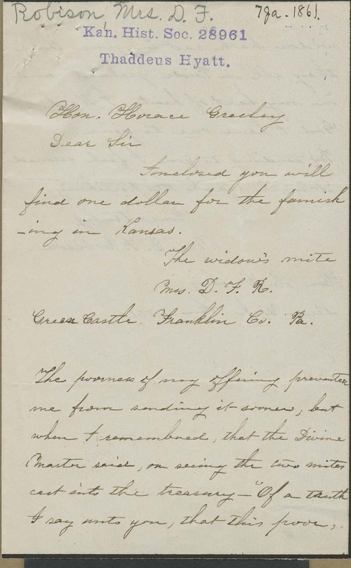 Mrs. D.F. Robison to Horace Greeley - Page