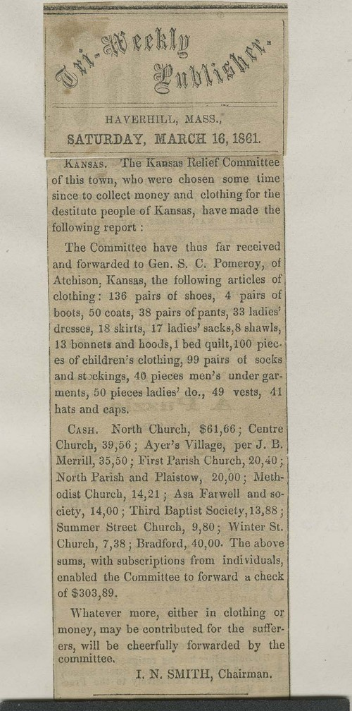 Kansas Relief Committee, newspaper article - Page