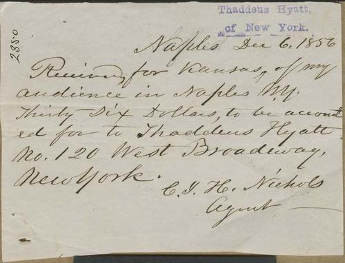 Clarina Irene Howard Nichols, receipt - Page